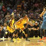 Seimone Augustus is defended by Nneka Owumike. Photo by Benita West/TGSportsTV1.