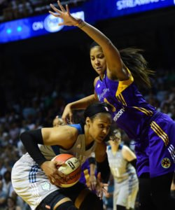 Minnesota's Maya Moore attempts to drive to the basket but is shut down by Los Angeles' Candace Parker in the first half of Game 1 of a WNBA finals matchup between the Minnesota Lynx and the LA Sparks at Williams Arena in Minneapolis on Sunday, Sept. 24, 2017. The Sparks won 85-84. (Scott Takushi / Pioneer Press)