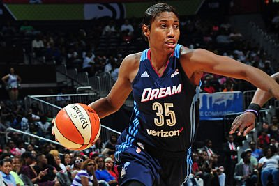 Angel McCoughtry will be in Russia playing for Dynamo Kursk during training camp for the Women's National Team. Photo by Scott Cunningham/NBAE via Getty Images.