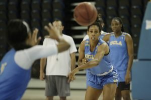 Monique Billings passes to Jordin Canada during a practice session. Photo by Maria Noble/WomensHoopsWorld.
