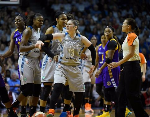Lindsay Whalen reacts to being fouled. Photo by Aaron Lavinsky/Associated Press.