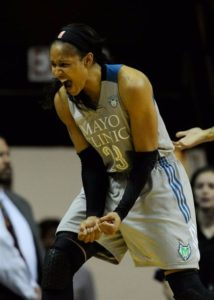Maya Moore exults after a call on the Sparks. Photo by Hannah Foslien/NBAE via Getty Images.