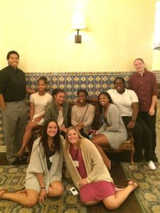 Gaucho players, who say the team is like a family, pause before a fundraising dinner last month. Bottom row: Coco Miller and Juliana Ramey. Top row: Je Zhe' Newton, Drea Toler, Sarah Porter, Onome Jemerigbe, Chaya Durr, Mi'chael Wright and Taylor Farris. Photo courtesy of Cal State Santa Barbara Athletics.