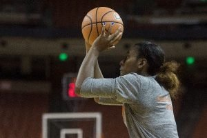 Ariel Atkins works on shooting. Photo courtesy of Texas Athletics.