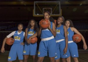 UCLA's 2014 No. 1 recruiting class in June of that year: Jordin Canada, Kelli Hayes, Monique Billings, Lajahna Drummer and Recee' Caldwell. Photo by Aubrey Yeo/The Dailey Bruin.