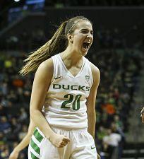 Sabrina Ionescu exults after making a shot. Photo courtesy of Oregon Athletics.