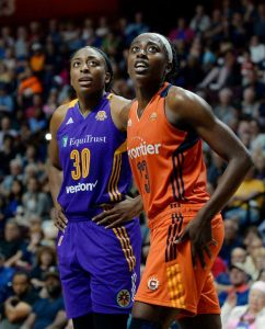 Chiney Ogwumike, right, got her first professional win over sister Nneka Ogwumike in the Sun's 102-94 victory over the Sparks. Photo courtesy of Connecticut Sun.