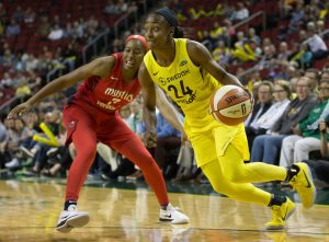Jewell Loyd has had four consecutive 20-plus points games, and averages 26. Neil Enns/Storm Photos.