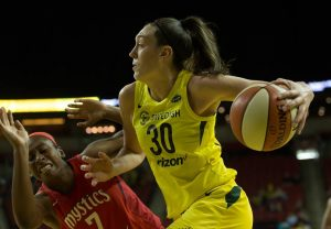 Breanna Stewart is averaging 21 points per game so far in her third year with Seattle. Neil Enns/Storm Photos.