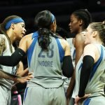 The Lynx huddle at a pause in game action. Maria Noble/WomensHoopsWorld.