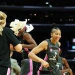 Nneka Ogwumike and Candace Parker celebrate a basket. Maria Noble/WomensHoopsWorld.