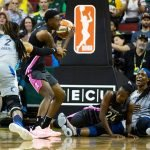 Natasha Howard comes up with the rebound after collisions under the basket. Lindsey Wasson/Seattle Storm.