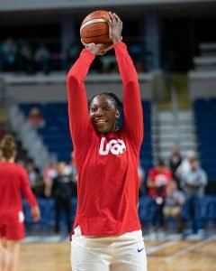 Tina Charles warms up before the recent exhibition game against Canada. Photo by Chris Poss.