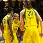 Sue Bird rallies the Storm as the Mystics closed the gap late in the game. Neil Enns/Storm Photos.