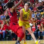 Breanna Stewart sets her feet to score two of her 30 points on the night. Neil Enns/Storm Photos.
