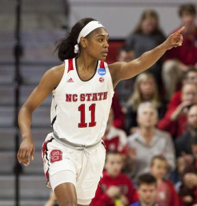 Kiara Leslie gestures to a teammate during an NCAA Tournament game last March. AP Photo by Ben McKeown.