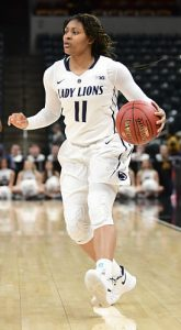 Teniya Page pushes the ball up court in last year's Big 10 Tournament. Photo by Jessica Hoffman