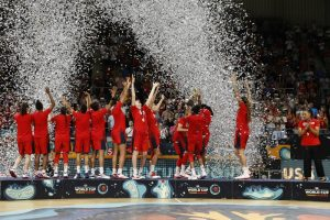 The U.S. National Team celebrates after winning their third straight World Cup Championship. NBAE via Getty Images photo.