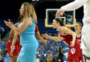 Cori Close is upset after Indiana scores in the game's final minute. Photo by Maria Noble/WomensHoopsWorld.