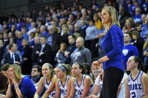 Jennie Baranczyk, now in her seventh year as Drake's head coach, has elevated the program. Photo courtesy of Drake Athletics.