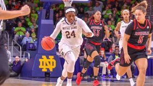 Arike Ogunbowale runs the fast break. Photo courtesy of Notre Dame Athletics.