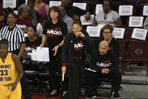 Associate head coach Lisa Boyer and head coach Dawn Staley both stand at the end of a game. Photo courtesy of South Carolina Athletics.