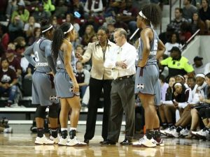 Associate head coach Johnnie Harris and head coach Vic Schaefer conduct a timeout. Kelly Price/Mississippi State Athletics.