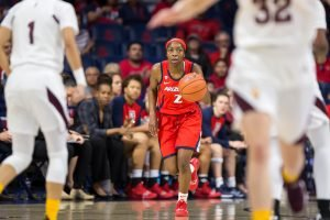 Sizing up the court, Aarion McDonald makes a move. Rebecca Sasnett/Arizona Athletics.