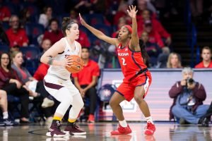 Aarion McDonald defends the paint. Rebecca Sasnett/Arizona Athletics.