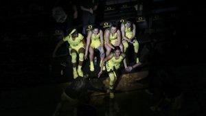 The Oregon starting five - Ruthy Hebard, Maite Cazorla, Erin Boley, Sabrina Ionescu and Satou Sabally - have led the team in scorching opponents this season. Photo courtesy of Oregon Athletics.