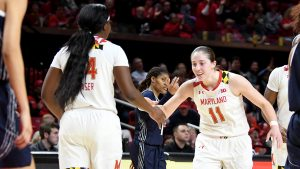 Taylor Mikesell is introduced before a game. Photo courtesy of Maryland Athletics.