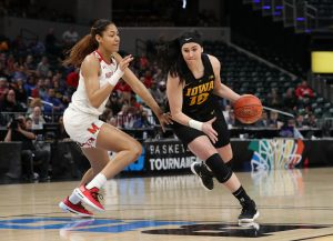 Iowa Hawkeyes forward Megan Gustafson (10) against the Maryland Terrapins Sunday, March 10, 2019 at Bankers Life Fieldhouse in Indianapolis, Ind. Brian Ray/hawkeyesports.com.