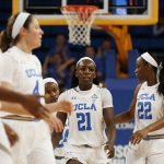 Bruin players walk up the court after a foul. Maria Noble/WomensHoopsWorld.