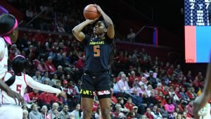 Kaila Charles lead Maryland to the Big Ten regular-season title. Photo courtesy of Big Ten.