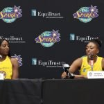 Tuesday, May 14, 2019 - Chiney Ogwumike (L) and Nneka Ogwumike attend the Los Angeles Sparks Media Day in Los Angeles, California. (Maria Noble/WomensHoopsWorld).