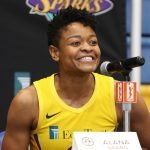 Tuesday, May 14, 2019 - Alana Beard attends the Los Angeles Sparks Media Day in Los Angeles, California. (Maria Noble/WomensHoopsWorld).