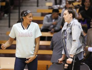 Friday, May 17, 2019 - Candace Parker and Breanna Stewart talk before the game. Maria Noble/WomensHoopsWorld.