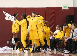 Friday, May 17, 2019 - The Sparks bench celebrates as time winds down. Maria Noble/WomensHoopsWorld.