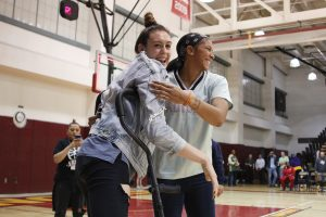 Friday, May 17, 2019 - Breanna Stewart and Candace Parker share a laugh after the Storm-Sparks preseason game. Maria Noble/WomensHoopsWorld.