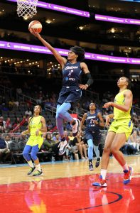 Brittney Sykes lays it up and in. Brian Savage Photo.