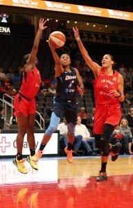 Renee Montgomery splits the defense to score. Brian Savage Photo.