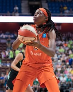 Connecticut Sun center Jonquel Jones looks to shoot during the WNBA game between the New York Liberty and the Connecticut Sun at Mohegan Sun Arena, Uncasville, Connecticut, USA on July 24, 2019. Photo Credit: Chris Poss