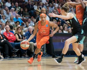 Connecticut Sun guard Jasmine Thomas during the WNBA game between the New York Liberty and the Connecticut Sun at Mohegan Sun Arena, Uncasville, Connecticut, USA on July 24, 2019. Photo Credit: Chris Poss