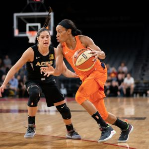 Kelsey Plum and the Aces will battle Jasmine Thomas and the Sun for playoff positioning Friday night. Chris Poss photo.