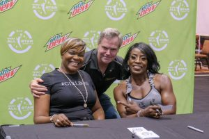 Sheryl Swoopes and Ruthie Bolton at the 2019 WNBA All-Star fan fest with MGM Resorts International chairman and CEO Jim Murren. MGM Resorts International photo.