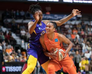 Connecticut Sun forward Alyssa Thomas (25) goes to the basket as Los Angeles Sparks forward Nneka Ogwumike (30) defends during the WNBA Semi-Finals between the Los Angeles Sparks and the Connecticut Sun at Mohegan Sun Arena, Uncasville, Connecticut, USA on September 19, 2019. Photo Credit: Chris Poss