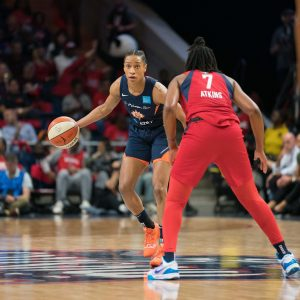 Connecticut Sun guard Jasmine Thomas (5) during Game 5 of the WNBA finals between the Connecticut Sun and the Washington Mystics at Entertainment and Sports Arena, Washington, DC, USA on October 10, 2019. Photo Credit: Chris Poss