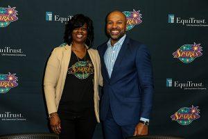 Sparks General Manager Penny Toler and coach Derek Fisher on draft day last April. Jevone Moore/Full Image 360.