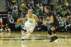 Sabrina Ionescu drives to the basket for two of her career-high 37 points on the night. Eric Evans/GoDucks.com