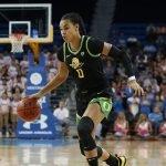 Satou Sabally dribbles up the court. Maria Noble/WomensHoopsWorld.